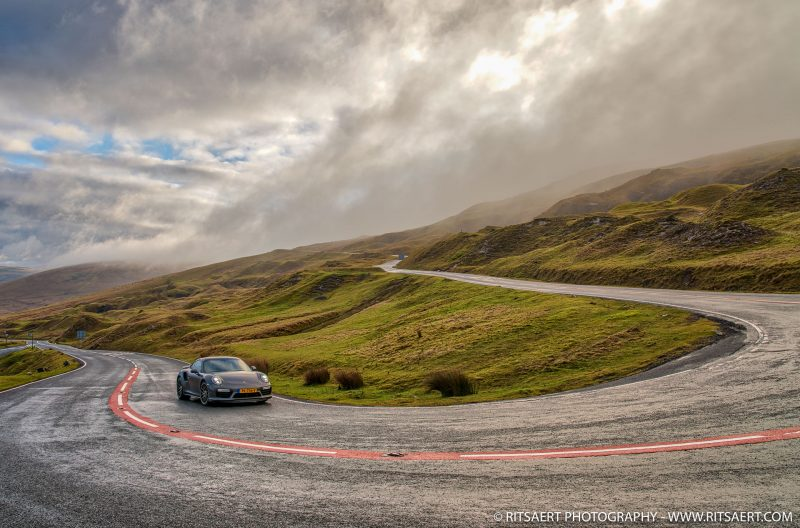 A Porsche 911 Turbo S at Topgears testroad Black Mountain Road A4069 Brecon Beacons Wales UK