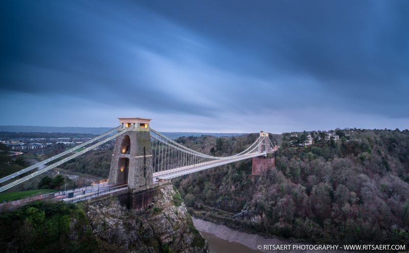 A beautifull image of the Clifton Bridge sunset in Bristol UK