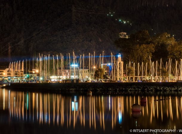 Harbor at night in Riva del Garda - Italy