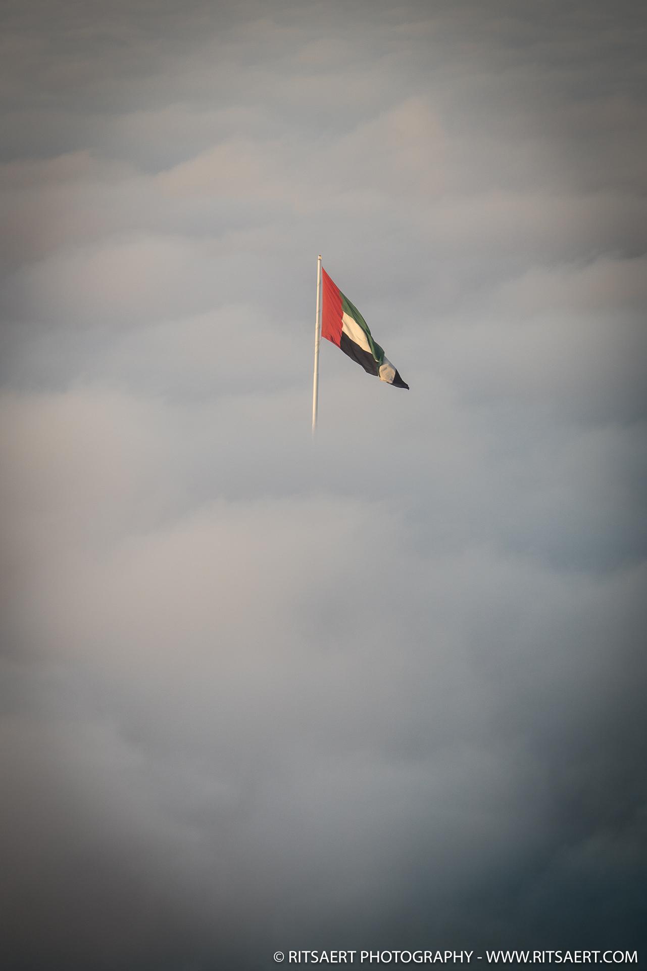 Flag through the clouds - Abu Dhabi